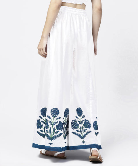 Solid white hand block printed flared palazzo