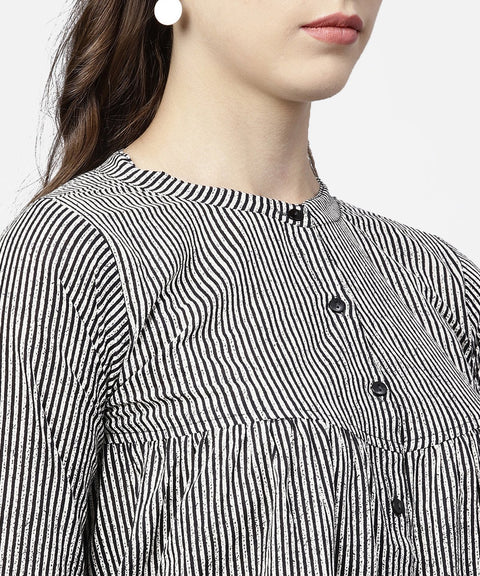 Black striped full sleeve A-line top with regular fit palazzo set