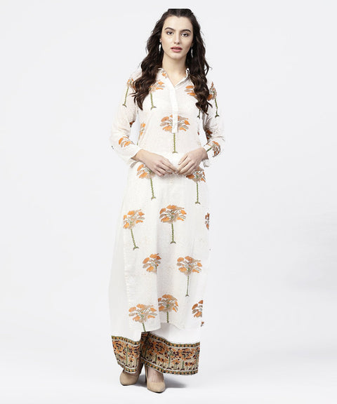 Off white printed 3/4th sleeve straight kurta with printed palazzo set