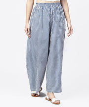 Blue striped printed ankle length cotton regular fit palazzo