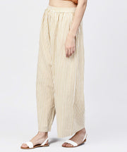 Yellow striped printed ankle length cotton regular fit palazzo