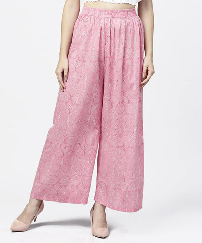 Pink  printed ankle length cotton regular fit palazzo