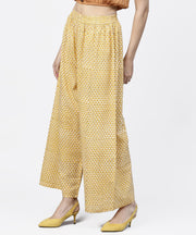 Yellow  printed ankle length cotton regular fit palazzo