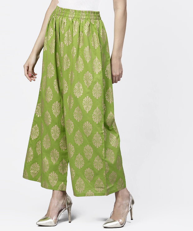 Green khadi gold printed ankle length palazzo