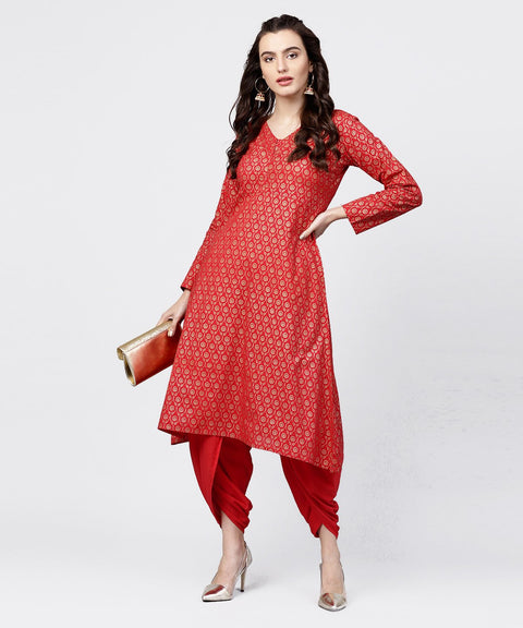 Red printed 3/4th sleeve A-line cotton kurta with solid dye dhoti pant set