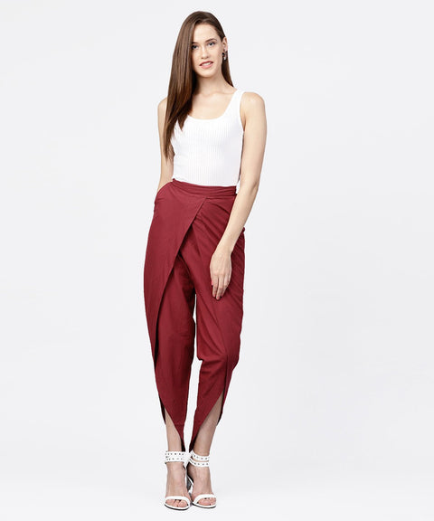 Solid wine ankle length cotton tulip pant