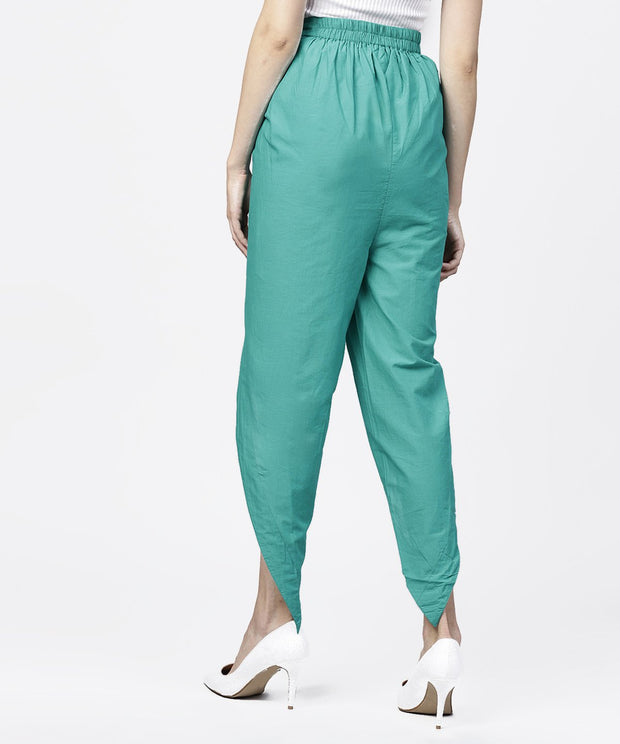 Solid Aqua  ankle length cotton tulip pant