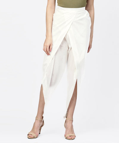 Solid White ankle length cotton tulip pant