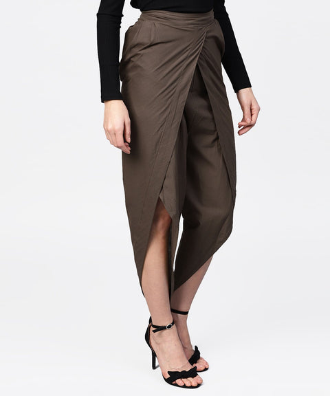 Solid black ankle length cotton tulip pant