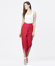 Solid Maroon ankle length cotton tulip pant