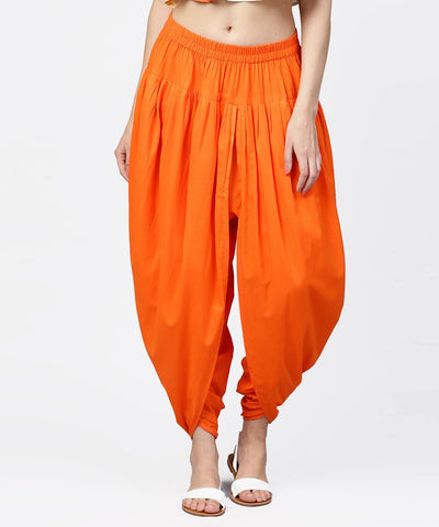 Solid orange ankle length cotton dhoti pant