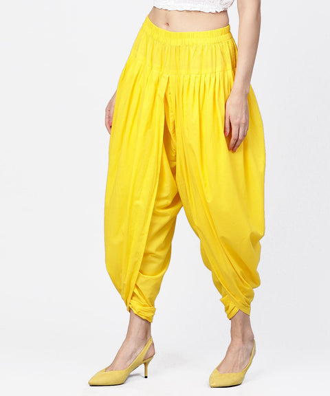 Solid Yellow ankle length cotton dhoti pant
