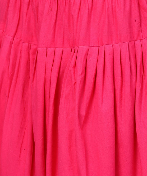 Solid rani Pink ankle length cotton dhoti pant