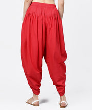 Solid crimson red ankle length cotton dhoti pant