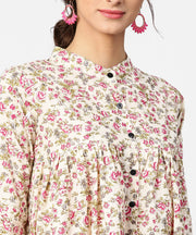 Floral printed 3/4th sleeve short cotton top with solid pink palazzo