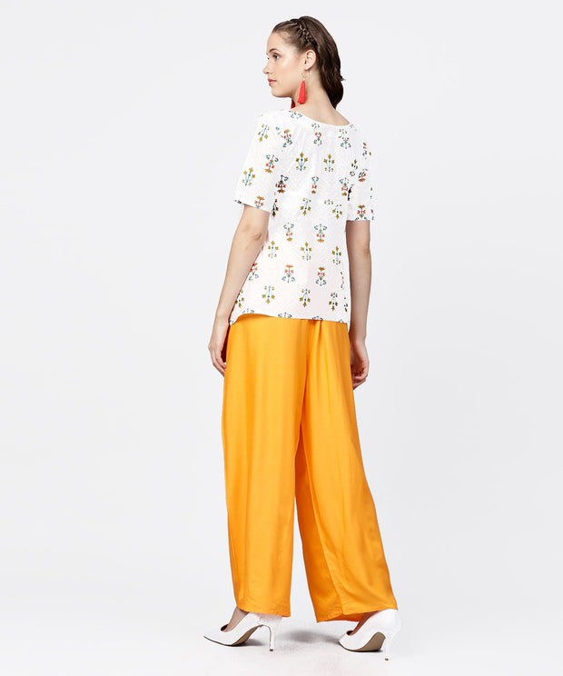 White printed half sleeve short cotton top with yellow regular fit palazzo