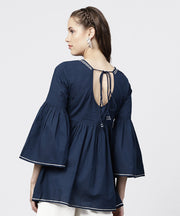Solid Round Neck with Gathers and 3/4th Flared Sleeves Tunic