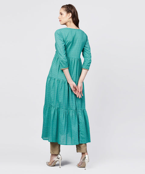 Printed Round Neck Three-tiered Flared Maxi Dress with pintucks and 3/4th sleeves