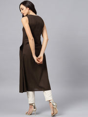 Dark brown Round neck with V-slit kurta