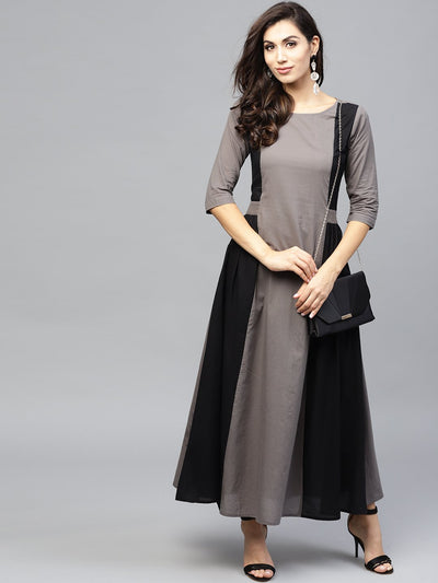 Grey and color blocking dress with Round neck and 3/4 sleeves