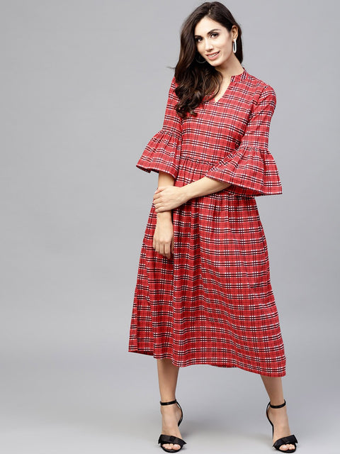 Red Checked Dress with Madarin collar and flared sleeves