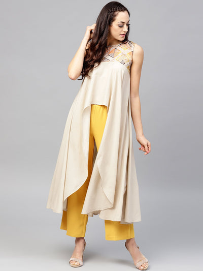 Beige asymmetric Sleeveless tunic with Round neck
