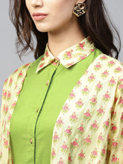 Pastel green maxi dress with detached floral jacket and shirt collar