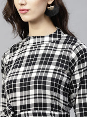 Black & White checked dress with roll collar and 3/4 sleeves
