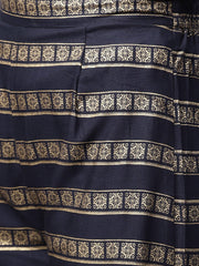 Navy blue gold printed 3/4th sleeve cotton kurta with ankle length Palazzo