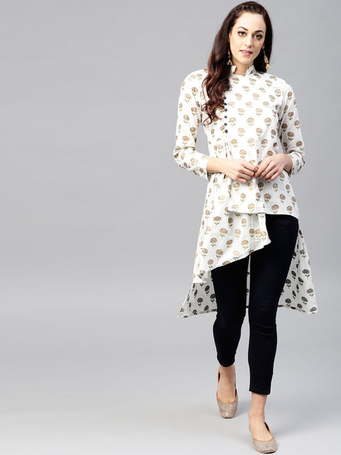 White Asymetric printed tunic with Madarin Collar and 3/4 sleeves