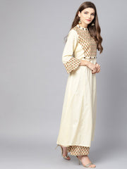Cream printed front yoke Kurta  set  with Palazzo