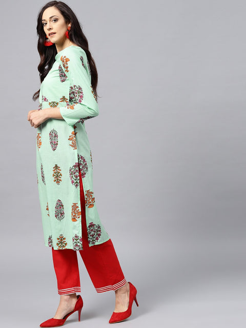 Green printed kurta with boat neck and full sleeves