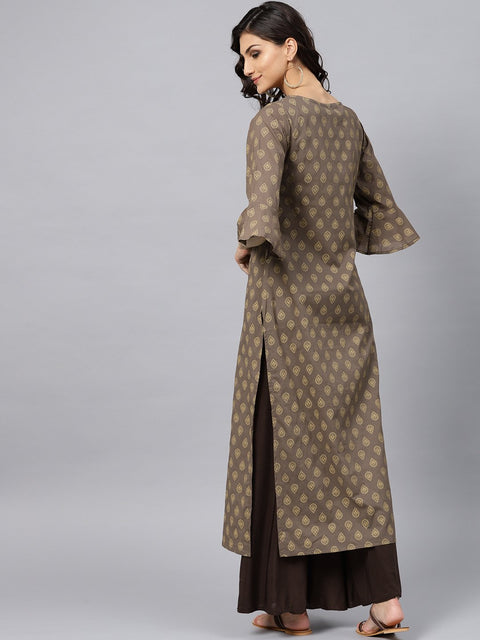 Grey printed straight kurta with Round neck and 3/4 sleeves