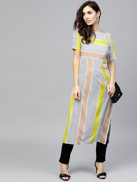Striped Calf lenth dress with round neck and half sleeves