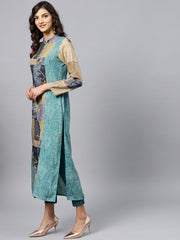 Multi colored Front Placket kurta with Madarin collar and full sleeves