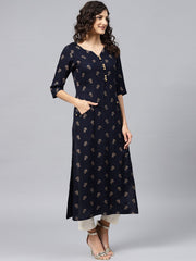 Navy Blue printed Kurta with V-neck and 3/4 sleeves