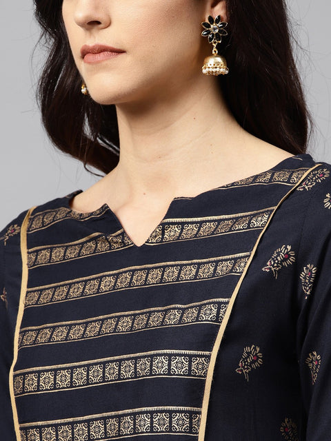 Navy blue Kurta with front Yoke with 3/4 sleeves
