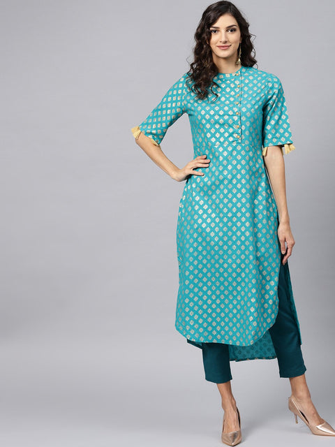 Sky Blue half sleeve cotton kurta with tussel work