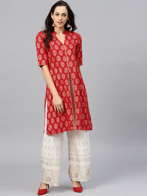 Red printed kurta with madarin collar and half sleeves