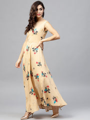 Sleeveless Pale Yellow Maxi dress  with round neck