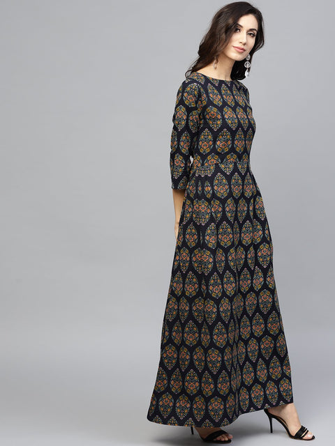 Multi Coloured Maxi dress with Round neck and 3/4 sleeves
