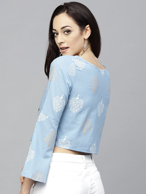 Blue printed crop top with Round neck and 3/4 sleeves