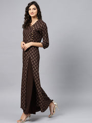 Dark Brown Printed Kurta with v-neck and 3/4 sleeves