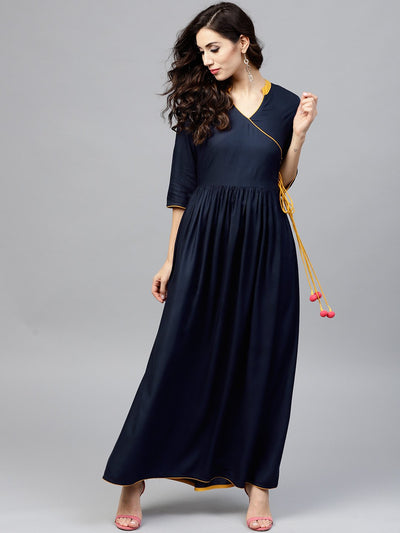 Navy blue Angrakha Dress with Madarin collar and 3/4 sleeves