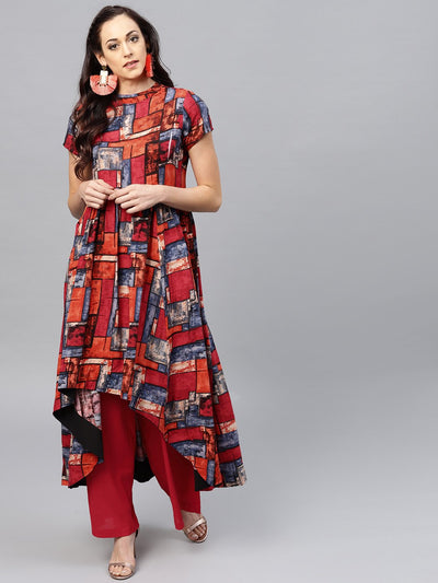 Multi colored short sleeve rayon Kurta set with Red Palazzo