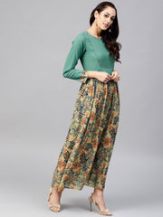 Multi Printed Maxi Dress with Round neck and full sleeves