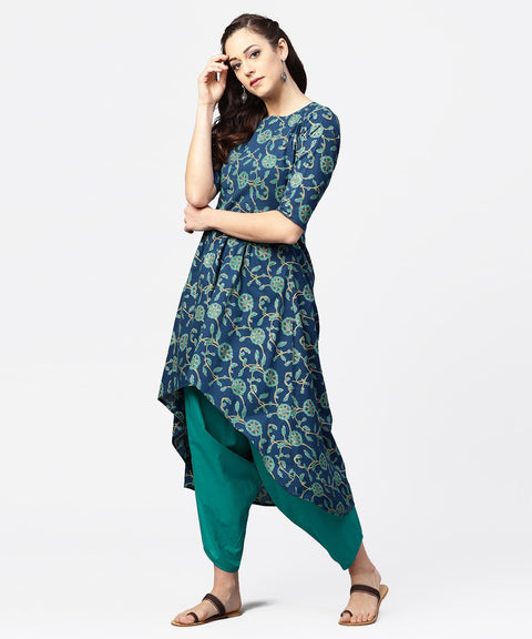 Blue printed 3/4th sleeve cotton low high kurta with blue printed dhoti