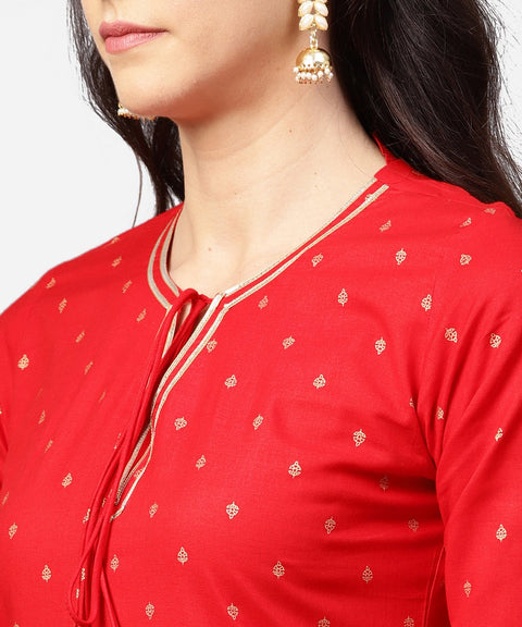 Red 3/4th sleeve dot printed cotton kurta with Beige pallazo