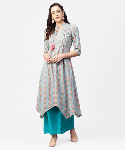Blue 3/4th sleeve cotton printed assymetric kurta with ankle length pallazo