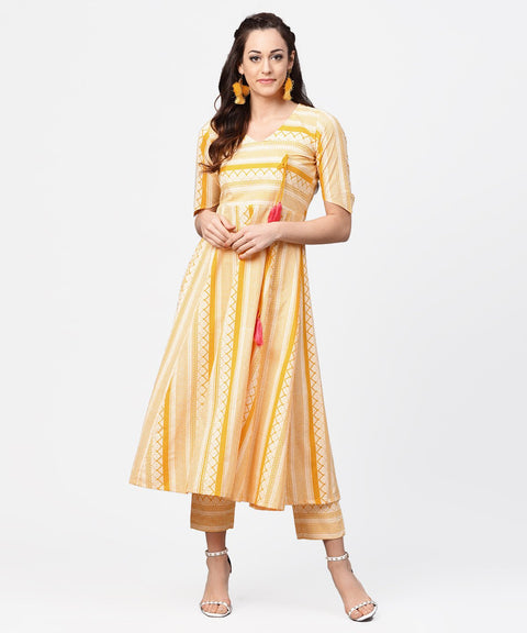 Yellow printed half slevee cotton A-line kurta with dori work with ankle length pant